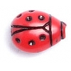 Acrylic Ladybug Bead 12x9mm Red/Black